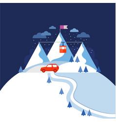 Design concept ski mountain vector