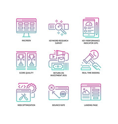 digital marketing icons set 4 vector image