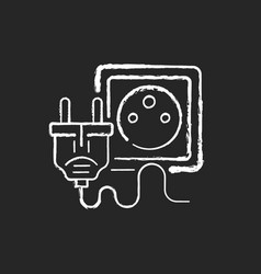 electrical plug for tech chalk white icon vector image