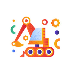 excavator heavy industrial construction machinery vector image