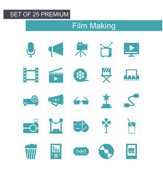 Film making icons set green vector