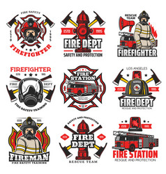 firefighting icons fire department retro badges vector image