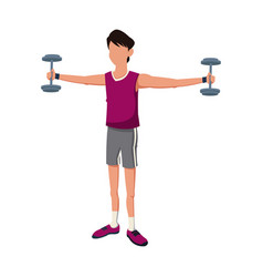 fitness man weight biceps lifting vector image