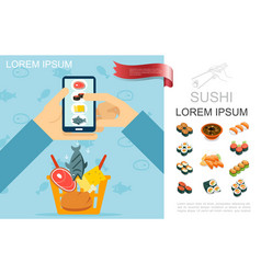 flat food online order concept vector image