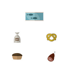 flat icon food set of meat sack cookie and other vector image