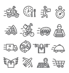food delivery line icons on white background vector image