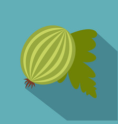 Fresh green gooseberry with leaves icon vector