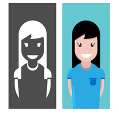 girl with smile avatar cute happy woman face vector image