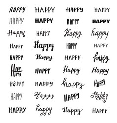 Happy lettering collection vector