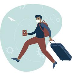 Happy man traveller with immunity passport vector