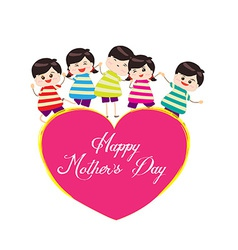 Happy mother day with kids vector