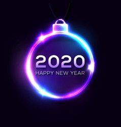 happy new 2020 year sign on dark blue background vector image