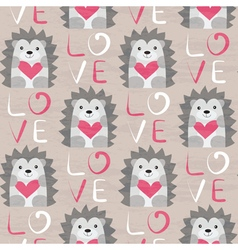 Hedgehog with heart seamless pattern vector image
