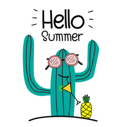 Hello summer concept with fun cactus and pineapple vector