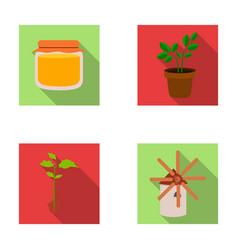honey bank plant millfarm set collection icons vector image
