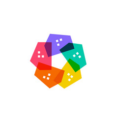 house colorful star flower logo icon vector image