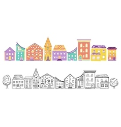 Houses Set Color and Monochrome vector image vector image