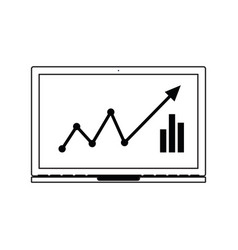 icon of laptop with chart vector image