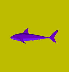 in flat style white shark vector image