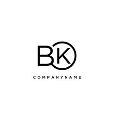 Initial bk letter logo with circle template vector