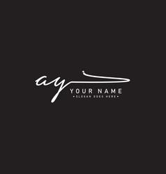 Initial letter ay logo - handwritten signature vector