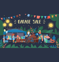 invitation flyer is written garage sale cartoon vector image
