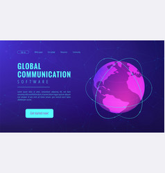 isometric global communication landing page vector image