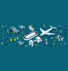 Isometric large set passengers with airport vector