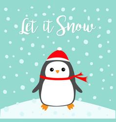 Let it snow kawaii penguin bird on snowdrift red vector