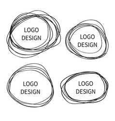 logo design hand drawn circle banner vector image