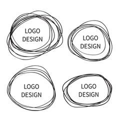 logo design hand drawn circle banner vector image