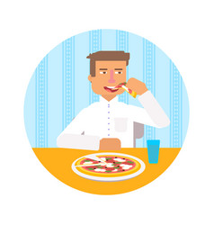 Man eating italian pizza vector