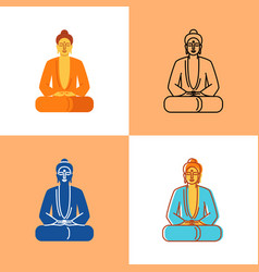 meditating buddha icon set in flat and line styles vector image