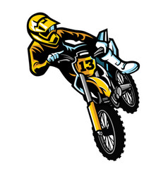motocross rider in act vector image vector image