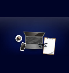Office business working place flat lay vector