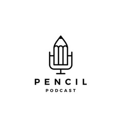 pencil podcast logo icon for creative blog video vector image