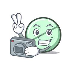 photographer drug tablet mascot cartoon vector image