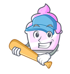 playing baseball ice cream paper cup character vector image