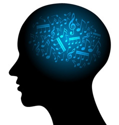 profile with musical notes vector image