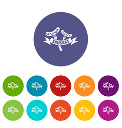 sausage icons set color vector image