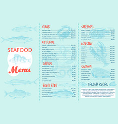 Seafood menu and a banner for the restaurant vector