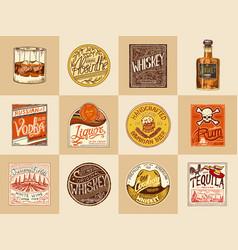set alcohol labels vintage american badge vector image