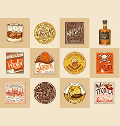 set alcohol labels vintage american badge with vector image