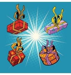 Set boxes with gifts vector