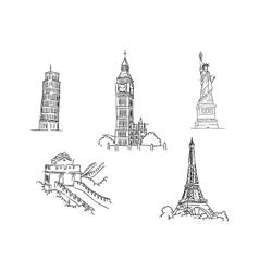set famous world landmarks vector image