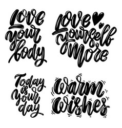 Set motivation lettering phrases design vector