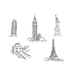 Set of famous world landmarks vector image