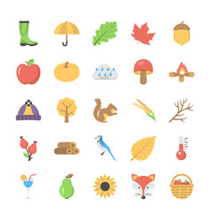 Set of flat autumn icon vector