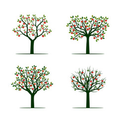 Set of green tree with red apples vector