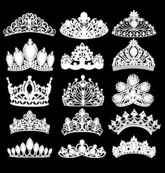 set silhouettes ancient crowns tiaras tiara vector image